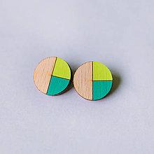 Náušnice - kruhy zelené - napichovačky - 9317836_