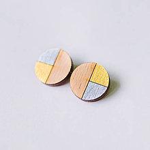 Náušnice - kruhy zlato strieborné - napichovačky - 9317976_