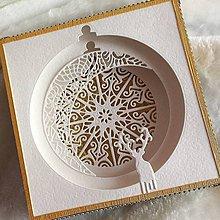 Svietidlá a sviečky - Vianočná Shadow Box pohľadnica - 9318934_