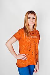 Batikované oranžové tričko S veľkosť 36