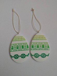 Dekorácie - veľkonočné vajíčko na zavesenie (Zelená) - 9318785_