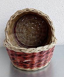 Košíky - 2 kruhové košíky s vypletaným dnom - 9317037_