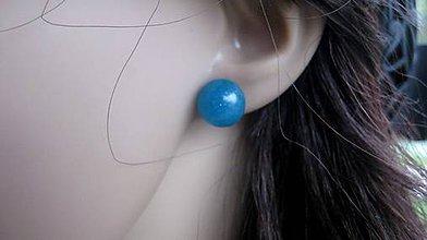 Náušnice - Živicové guľky napichovačky (Modré napichovačky  č. 1899) - 9316316_