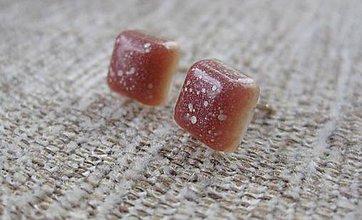 Náušnice - Živicové kocky - napichovačky (Prskané karamelky č.1908) - 9318267_
