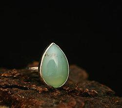 Prstene - Strieborný prsteň s chryzoprasom - 9316321_
