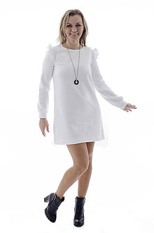 Šaty - Teplákové šaty s volánikmi - 9317241_