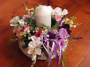 Svietidlá a sviečky - Ružovo-fialový svietnik so sviečkou - 9315831_