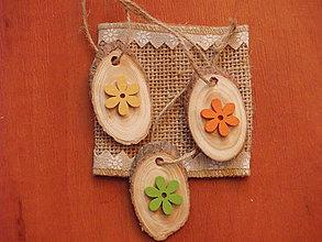 """Dekorácie - Veľkonočné drevené """"vajíčka"""" s kvietkom - sada 3ks - 9315835_"""