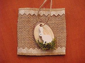 """Dekorácie - Veľkonočné drevené """"vajíčka"""" so zajačikom v machu - 9315839_"""