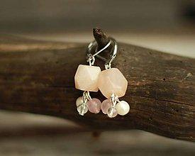 Náušnice - Náušnice z minerálu aventurín, mesačný kameň, ruženín, krištáľ - 9317921_