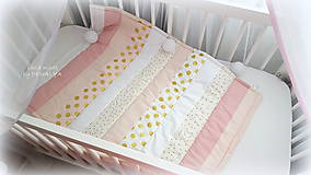 Textil - Deka SIMPLE v pásoch 70x90cm Gold-pink - 9323792_