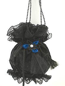 Kabelky - Gothická kabelka pompadúrka čierná zamatová W4 (Oranžová) - 9322063_