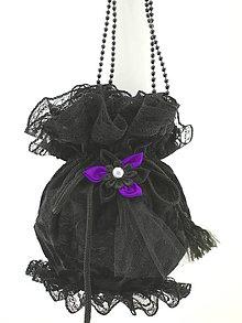 Kabelky - Gothická kabelka pompadúrka čierná zamatová W5 (Oranžová) - 9322089_