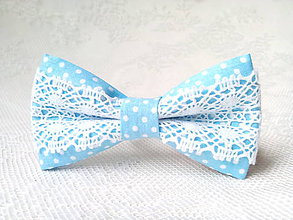 Ozdoby do vlasov - Folklore hair clip (baby blue/small white dots) - 9322235_