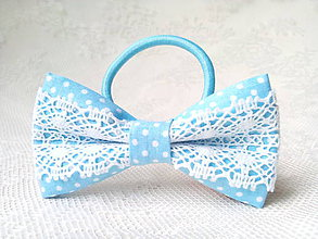 Ozdoby do vlasov - Folklore hair bow (baby blue/small white dots) - 9322263_