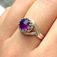 Prstene - Vintage Natural Faceted Amethyst Ring Silver Ag 925 / Strieborný prsteň s brúseným ametystom - 9319522_