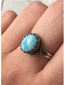 Prstene - Vintage Larimar & Silver Ag 925 / Strieborný vintage prsteň s prírodným larimarom /0348 - 9320745_