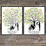 Svadobný strom so siluetou a bicyklom/motorkou