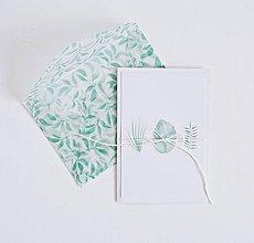 Papiernictvo - Pozdrav štýlový - lístky mint - 9322167_