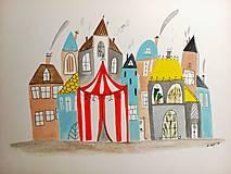 Obrazy - Mesto cirkus ilustrácia  / originál maľba - 9323412_