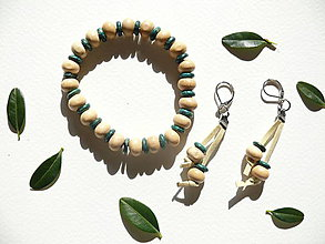 Sady šperkov - Prírodný set - náramok a náušnice (Béžová) - 9319810_