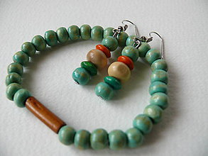Sady šperkov - Prírodný set - náramok a náušnice (Tyrkysová) - 9319824_