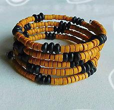 Náramky - drevený kombinovaný oranž náramok - 9319436_
