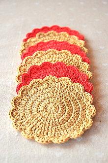 Úžitkový textil - sada 6kusov háčkovaných podšálok, červené a béžové - 9322320_