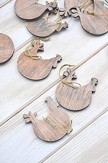 Dekorácie - drevené závesné sliepočky - 9322544_