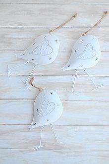 Dekorácie - plechový vtáčik, väčší - 9322776_
