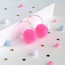 Náušnice - Neon pink brmbolcové náušničky - 9322512_