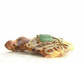Odznaky/Brošne - Aventurín v brošni z bronzu III. - 9321767_