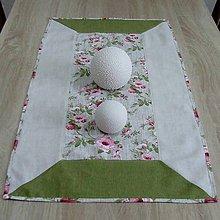 Úžitkový textil - Ruže na režnom melíre - obrus obdĺžnik 86x46 - 9319659_
