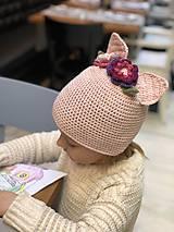 Detské čiapky - uškatá ružová - 9322619_