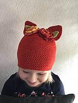 Detské čiapky - uškatá červená - 9322642_