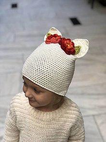 Detské čiapky - uškatá biela - 9322608_