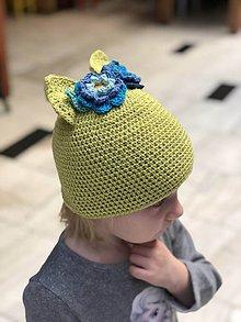 Detské čiapky - uškatá zelená - 9322612_