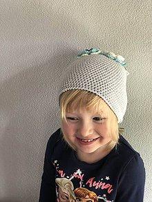 Detské čiapky - uškatá bledošedá - 9322627_