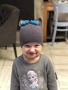 Detské čiapky - uškatá šedá - 9322637_
