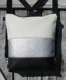 """Batohy - """"backpack 2in1 silver&white&black"""" - Batoh & taška cez rameno - 9320035_"""