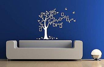 Dekorácie - Nálepky na stenu - Rodinný strom s fotorámikmi (Ľadovo modrá) - 9321170_