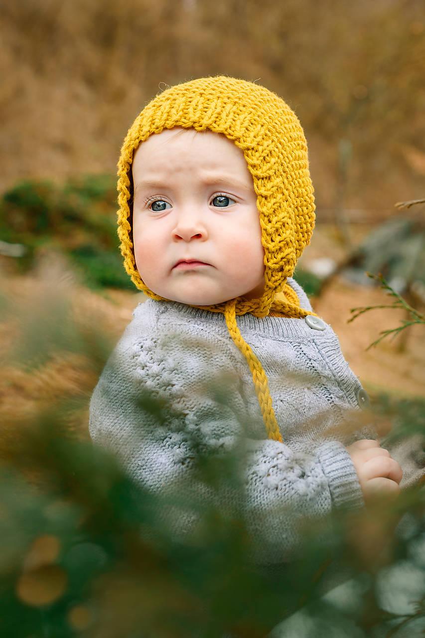 Bavlnený pixie čepček na jar, jeseň HORČICOVÝ