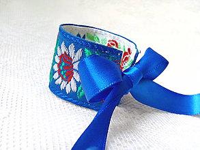 Náramky - Slovak folklore bracelet (blue/white) - 9326518_