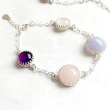 Náramky - Vintage Gemstones Silver Bracelet ag 925 / Strieborný náramok ametyst, ruženín, mesačný kameň a chalcedón /0345 - 9326650_