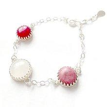 Náramky - Vintage Gemstones Silver Bracelet ag 925 / Strieborný náramok rubín, rodonit a biely jadeit /0345 - 9327854_