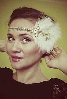 Ozdoby do vlasov - retro bielo-zlatá - 9326440_