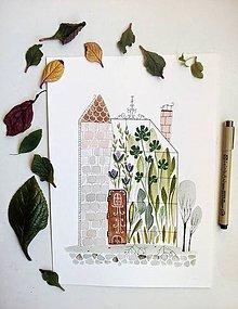 Obrazy - Skleník s komínom  ilustrácia / originál maľba - 9326326_