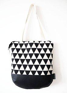 Veľké tašky - Veľká režná taška na plece - minimal trojuholníky - 9324758_