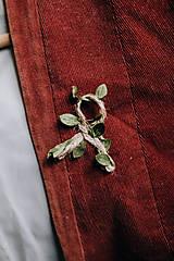 Pierka - Svadobné pierka jutové so zeleným lístkom (Pierko z jutového špagátika so zeleným) - 9324786_
