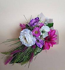 Dekorácie - gratulačná kytica cyklámen, pink, ivory aj pre pani učiteľku - 9325814_